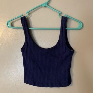 Blue cropped scoop neck tank top
